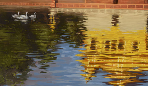 Harmandir Sahib, Golden Temple in Reflection, Puratan Harimandir Sahib, Punjab Art, Sikh Paintings, Indian Temples, Wonders