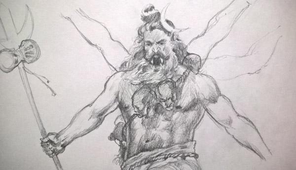 Mahakal, Shri Kaal, Mahadev, Mahesh, Shiva, Shri Kharag, Lord Shiv, Sada Shiv, Shiv ji, Lord Shiva, Hindu Gods, Sikhi, Art, Punjab, Drawings, Sketches Bhagat Singh Bedi