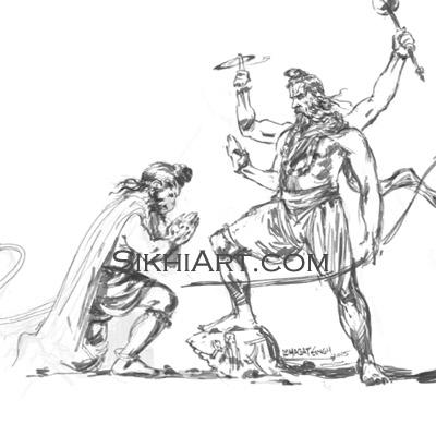 Shri Ram Chandra ji blesses Hanuman ji Chaturbhuj, Hindu Gods, Sikhi, Art, Punjab, Drawings, Sketches Bhagat Singh Bedi