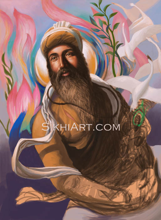 Guru Arjan Dev Spiritual Blossoming, Guru Arjun Dev, Martyrdom, History of Sikhs, art and culture of punjab, Punjabi Paintings, Sikhi Art, Bhagat Singh Bedi