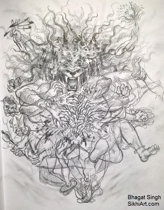 Narasimha, Narasingh, narayan, thousand eyes, forms, formless, man-lion god, Vishnu, Hindu Gods, Sikhi, Art, Punjab, Drawings, Sketches Bhagat Singh Bedi