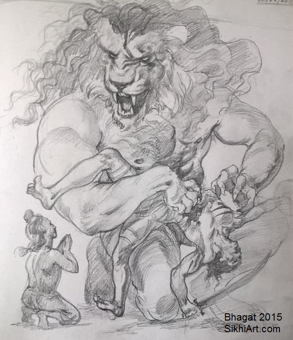 Narasimha, Narsingh, Hiranyakashipu, Prahalada, man-lion god, Hindu Gods, Sikhi, Art, Punjab, Drawings, Sketches Bhagat Singh Bedi