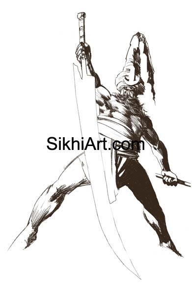 Akali, Nihang, Warrior, Sikh warrior, Turban, Dastaar Boonga, Khalsa, Sikh Art, Punjab, Sikh Drawing