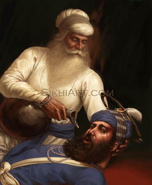 Bhai Kanhaiya, Bhai Ghanaiya, Guru Gobind Singh, Dashmesh Pita, Sikh Gurus, Mughal, Sikh, Sikh Art by Bhagat Singh Bedi, Sikhi Art, Sikh Wall Art, Sikh Painting, Punjabi Art, Battle of Anandpur Sahib