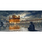 Golden Temple at Night, Amritsar, Punjab, Harmandir Sahib, Harimandir, Hari Mandir, Meditating, Man, Naam Simran, Moon, Baba Attal Rai Gurudwara, Boonga, Bhagat Singh Artist, Sikhi Art