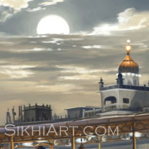 Golden Temple in Moonlight Harmandir Sahib Harimandir Baba Atal Rai Attal Boonga Gurudwara Moon by Bhagat Singh