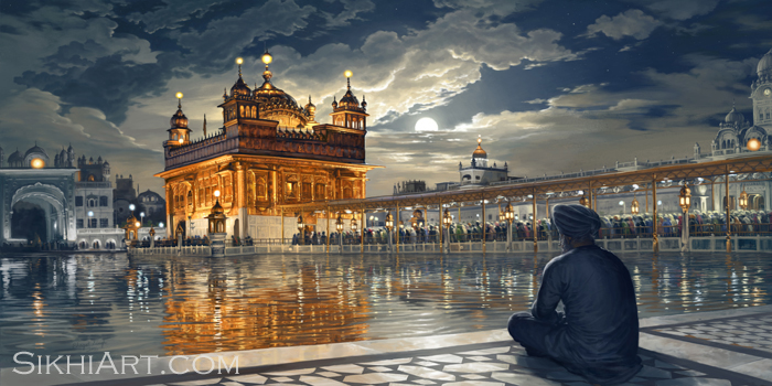 Golden Temple in Moonlight at Night, Harmandir Sahib, Harimandir, Hari Mandir, Meditating, Man, Naam Simran, Moon, Baba Attal Rai Gurudwara, Boonga, by Bhagat Singh, Sikhi Art, Wonders of Punjab, Sikh Paintings, Punjabi Art