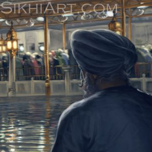 Golden Temple in Moonlight Harmandir Sahib Harimandir Man in Deep Meditation Naam Simran Hari Mandir by Bhagat Singh