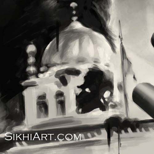 Sant Jarnail Singh ji Bhindranwale - Akal Takht Amritsar Punjab Detail - Operation Blue Star - Indian Army Tanks by Bhagat Singh Bedi of Sikhi Art