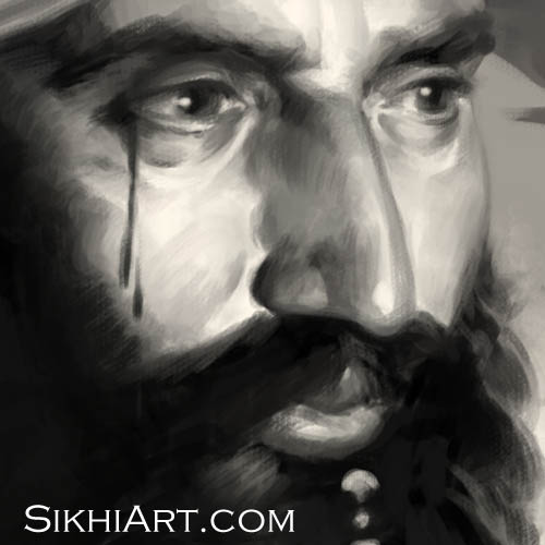 Sant Jarnail Singh ji Bhindranwale - Close-up Detail - Operation Blue Star - Indian Army Tanks by Bhagat Singh Bedi of Sikhi Art
