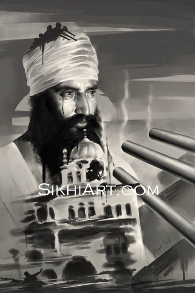 Sant Jarnail Singh ji Bhindranwale, Operation Blue Star, Indian Army Tanks, Akal Takht of Punjab, India, History of Sikhs, Sikh Painting, Punjab Art, Sikh Warriors, Bhagat Singh Bedi, Sikhi Art, Sikh Art