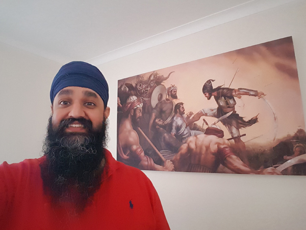 Battle of Chamkaur - Sahibzada Ajit Singh ji Sikh Warrior Art by Bhagat Singh - Photo of Dal Singh with his Canvas Print