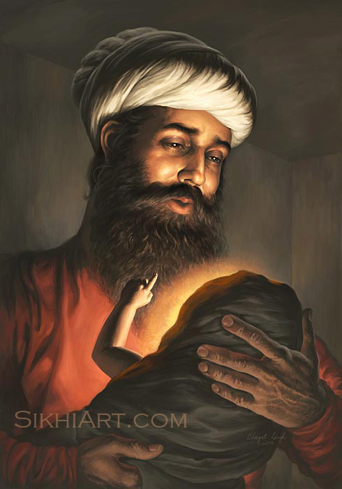 Pita Kalu ji Holding Baby Nanak, Mehta Kalu ji, Guru Nanak Dev ji, Bhagat Singh, Sikhi Art, Punjabi Painting, Art and Culture of Punjab