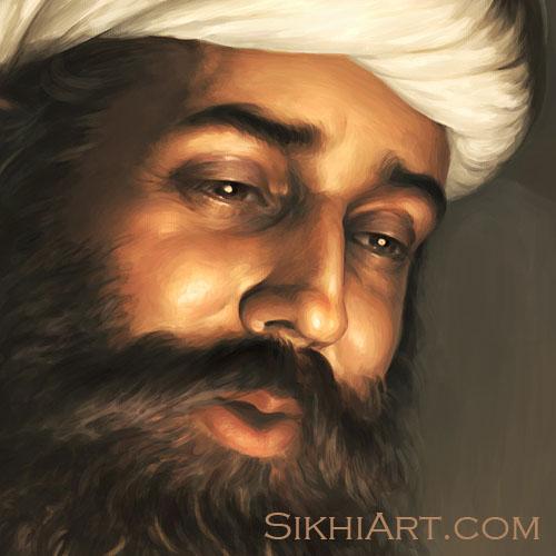Pita Kalu ji Holding Baby Nanak, Mehta Kalu ji looks at Baby Guru Nanak Dev ji, Bhagat Singh, Sikhi Art