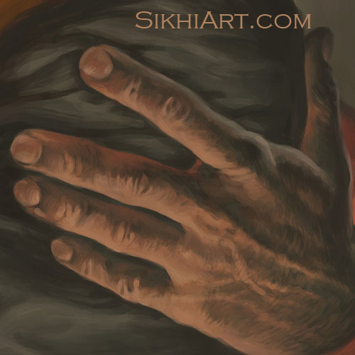 Pita Kalu ji Holding Baby Nanak, Pita ji's embrace, hard working hand, Mehta Kalu ji, Guru Nanak Dev ji, Bhagat Singh, Sikhi Art