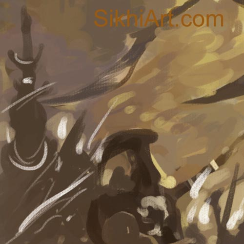Akali, Akalini, Warrior Monk, Nihang, Sikh Warrior, Sikh Art, Sikh Drawing