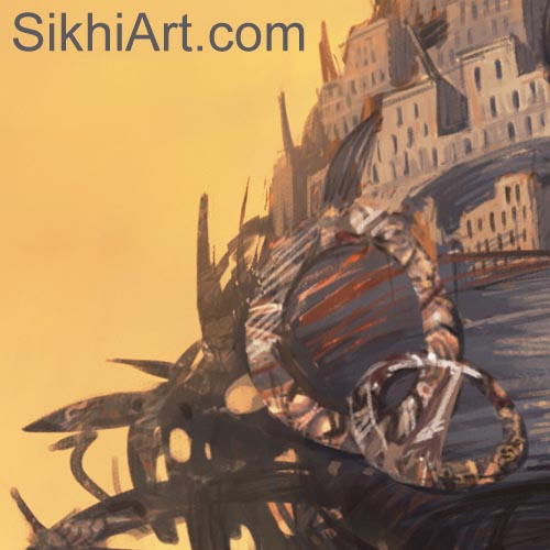 Turban Fort, Akali Warrior Monk, Nihang, Warrior, Sikh Awarrior, Turban, Dastaar Boonga, Khalsa, Sikh Art