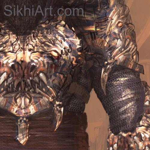 Char Aina Armour, Akali Warrior Monk, Nihang, Warrior, Sikh Awarrior, Turban, Dastaar Boonga, Khalsa, Sikh Art