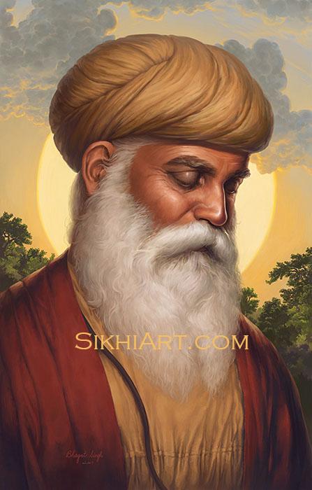 Adi Guru, Guru Nanak Dev ji, Portrait Painting, Meditation, Dhyan, Sikh Painting, Punjab Art, Nankana Sahib, History of Punjab, Bhagat Singh Bedi, Sikh Art, Sikh Canvas