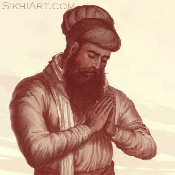 Bhai Daya Singh, Guru Gobind Singh ji, Vaisakhi, 1699, Khalsa, Sikh, Anandpur Sahib Punjab Painting by Artist Bhagat Singh Sikhi Art