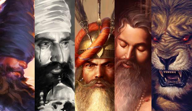 Blind Chakram on Howdah, Sant Jarnail Singh ji Bhindranwale, Hari Singh ji Nalwa, Guru Arjun Dev ji, Narsingh ji Narasimha, Bhagat Singh Bedi, Sikhi Art, Punjab Art, Sikh Shop