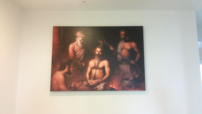 Guru Arjun Dev ji - Martyrdom, Shaheedi of Guru Arjan Dev pathshah, Sikh paintings, Art of Bhagat Singh, Canvas Print own by Sandeep Singh