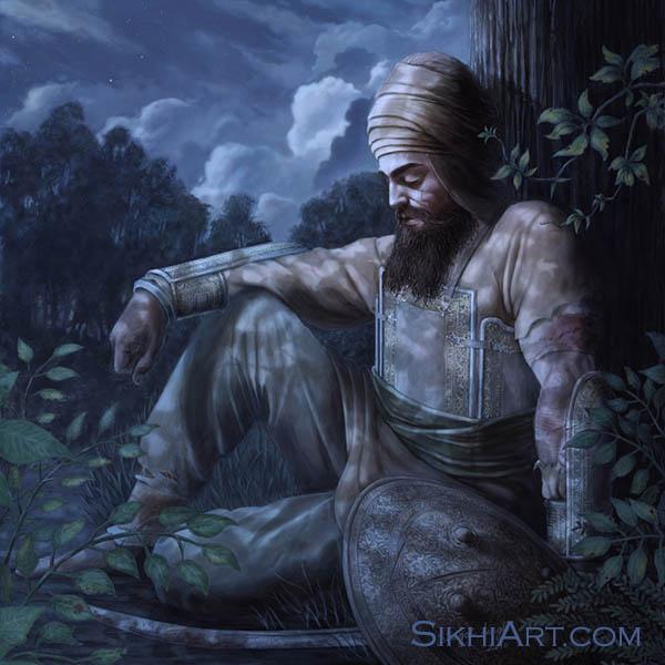 Guru Gobind Singh ji in Machhiwara Dasam Pita Sikhi Art History of Punjab Bhagat Singh Bedi Sikh Paintings