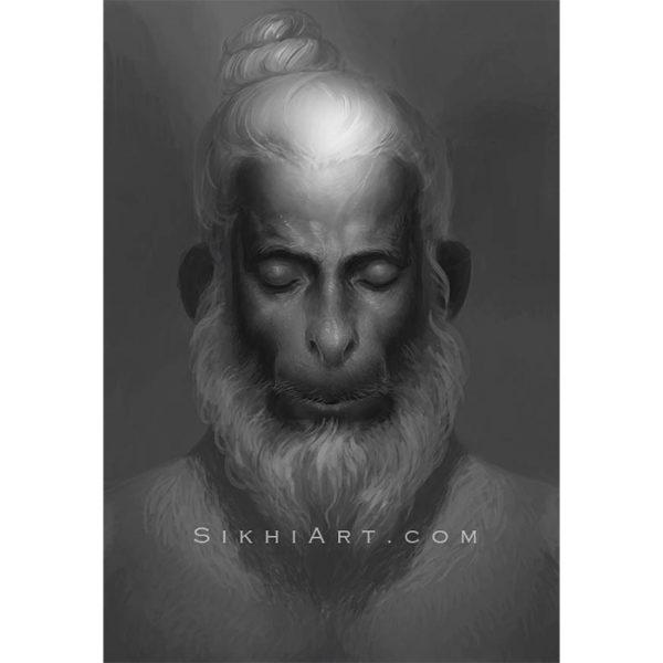 Hanuman ji meditates on Shri Ram ji
