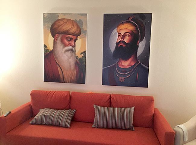 Guru Nanak Dev ji, Guru Gobind Singh ji, Sikhi Art by Bhagat Singh Bedi, Collector's Photo