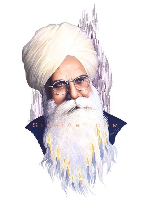Bhai Vir Singh ji, Punjabi Author, Sikh Poet by Bhagat Singh Bedi Artist, Sikhi Art, Authentic Sikh Artwork