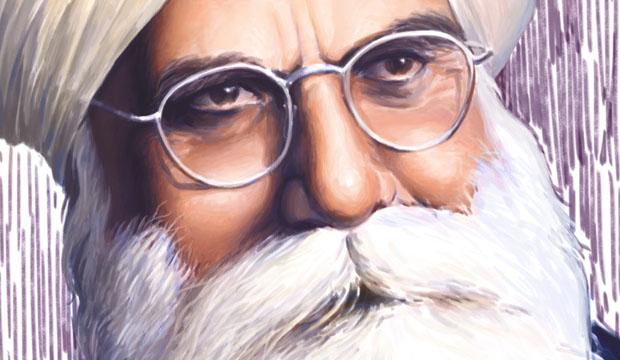 Bhai Vir Singh ji, Saint Poet of Punjab, painted by artist Bhagat Singh Bedi, Sikhi Art, Sikh Art,