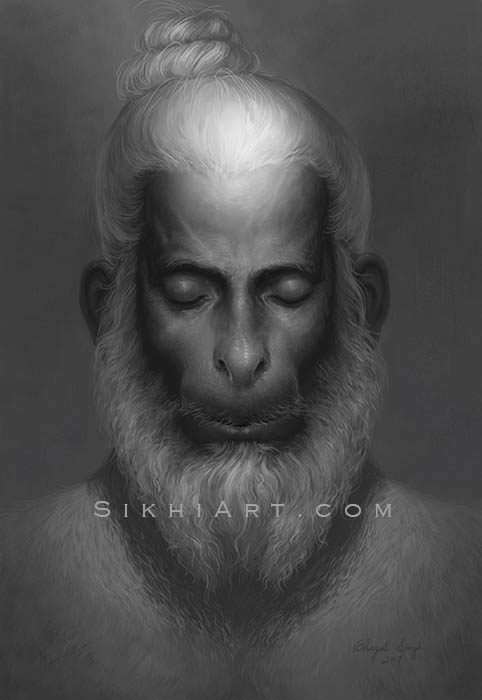 Hanuman ji Meditating on Shri Ram ji, Bajrangbali, top-knot, beard, monkey, God, divine being, bhakti, warrior, bhakta, bhagat, bhagti, Hindu mythology, Art of Hinduism, Art of Vaishnavism, by Artist Bhagat Singh Bedi, Sikhi Art