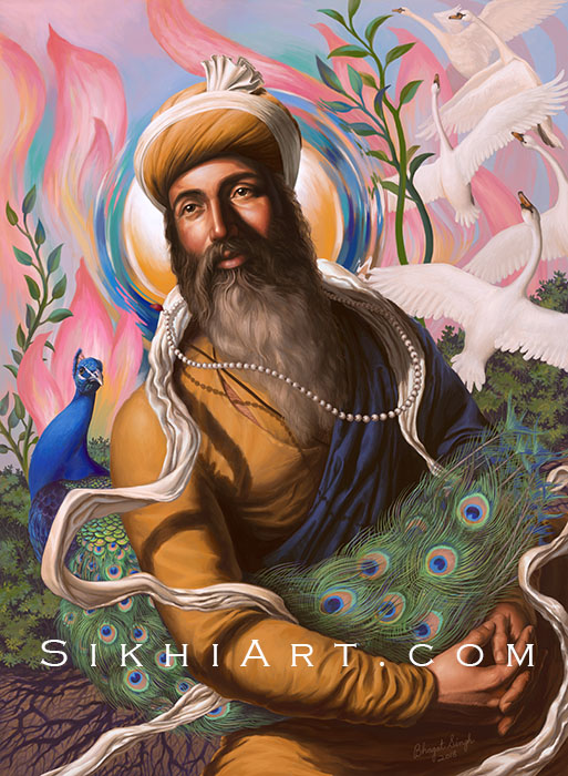 Guru Arjun Dev ji, Spiritual Blossoming, Guru Arjan Dev ji, Sikh Painting, Art and History of Punjab, Bhagat Singh, Sikhi Art, Peacock, Swan, Mute Swan, Lotus Petals, Roots, Garden, Beautiful Sikh Art, Sikh History Prints, Sikh Guru Paintings