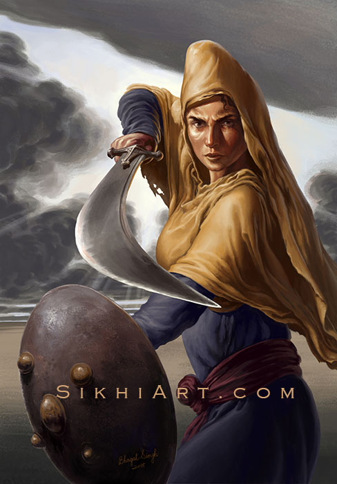 Featured Post Mai Bhago ji, Warrior Women, Sikh Warrior, Sikh Art, Paintings of Punjab, Bhagat Singh Bedi - Sikhi Art, Sikh Gurus