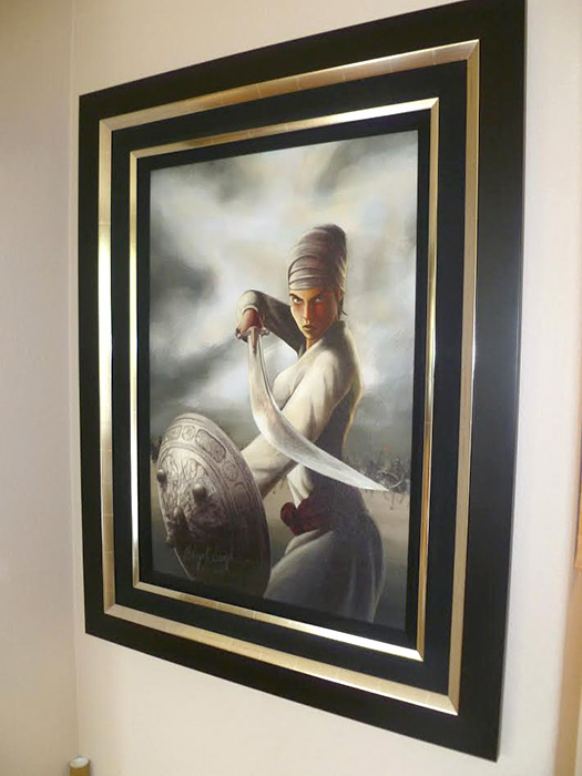 Mai Bhago ji, Sikh Woman, Warrior Saint, History of Punjab, by Bhagat Singh of Sikhi Art, Collector Pav Athwal