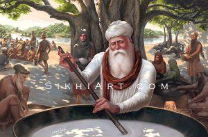 Guru Amar Das ji, Waheguru, Langar, Mata Mansa Devi, Bibi Bhani, Bibi Dani, Guru Ram Dasji,Guru Nanak Dev ji, Sikh Art by Artist Bhagat Singh Bedi