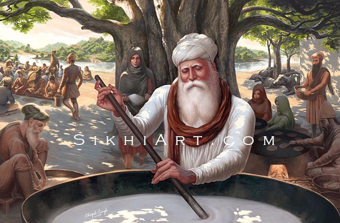 Guru Amar Das ji, Waheguru, Langar, Mata Mansa Devi, Bibi Bhani, Bibi Dani, Guru Ram Das ji,Guru Nanak Dev ji, Sikh Art by Artist Bhagat Singh Bedi