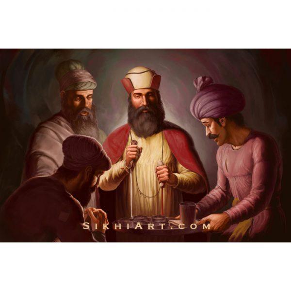 Guru Nanak Dev ji - Supper at Bhai Lalo Ji's House - Sikh Art by Bhagat Singh Bedi - Bhai Mardana - Sikh History - Malik Bhago