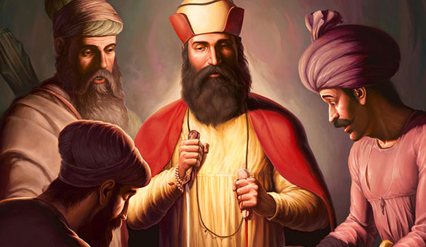 Featured Post Prints of Guru Nanak Dev ji, Bhai Lalo ji, Sikh Guru Canvas, Sikh Art Tradition of Punjab, Bhagat Singh Bedi
