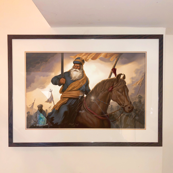 Baba Deep Singh ji - by Sikh Art by Artist Bhagat Singh - Collection of Raja Singh sm