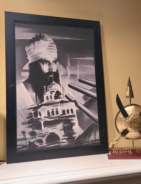 Sant Jarnail Singh ji Bhindranwale, Sikh Framed Prints, black and white portrait of 1984 Punjab, history of Punjab, Golden Temple, Amritsar, AKal Takht, Operation Bluestar